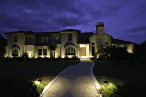 driveway with lighrs