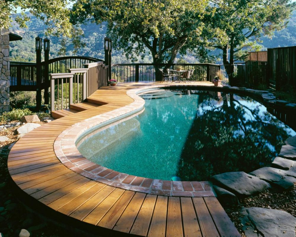 cool wooden pool deck