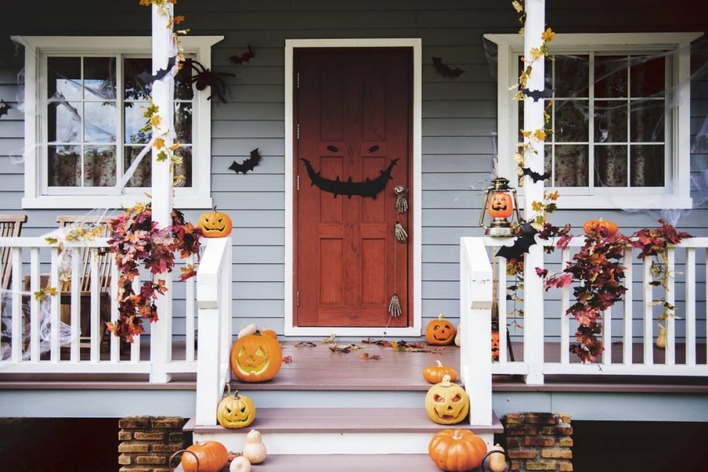 halloween-themed door and patio
