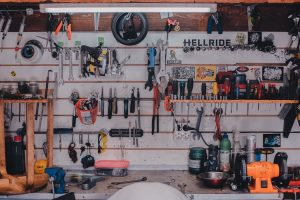 carpentry tools in garage